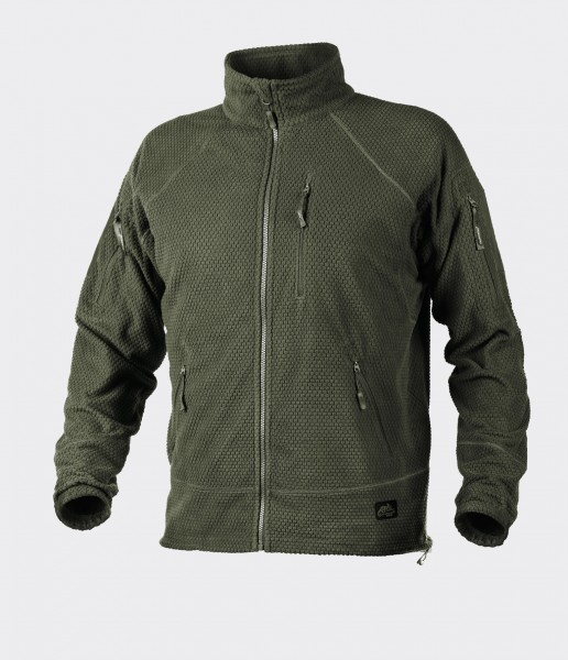 Alpha Tactical Jacket - Grid Fleece - Olive Green